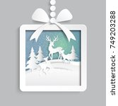 paper gift box with deers... | Shutterstock .eps vector #749203288