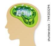 think green creative idea... | Shutterstock .eps vector #749203294
