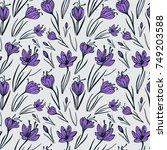 seamless vector floral pattern... | Shutterstock .eps vector #749203588