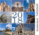 2018 paris travel collage... | Shutterstock . vector #749203639