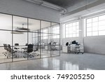 white brick open space office... | Shutterstock . vector #749205250