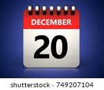 3d illustration of 20 december... | Shutterstock . vector #749207104
