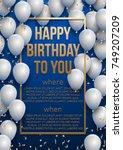 happy birthday vector... | Shutterstock .eps vector #749207209