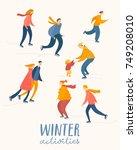 vector winter activities poster ... | Shutterstock .eps vector #749208010