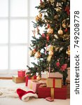 decorated christmas tree and... | Shutterstock . vector #749208778