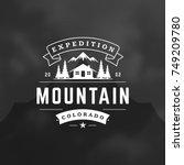mountains logo emblem vector... | Shutterstock .eps vector #749209780