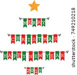 christmas bunting flags  | Shutterstock .eps vector #749210218