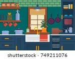modern kitchen interior with... | Shutterstock .eps vector #749211076
