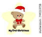 little teddy bear toy wearing... | Shutterstock .eps vector #749213758