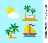 island escape icon set | Shutterstock .eps vector #749217838