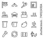 thin line icon set   store... | Shutterstock .eps vector #749224504