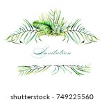 watercolor tropical palm leaves ... | Shutterstock . vector #749225560
