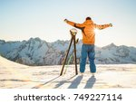 young professional skier at... | Shutterstock . vector #749227114