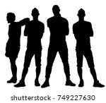 handsome young people posing... | Shutterstock .eps vector #749227630