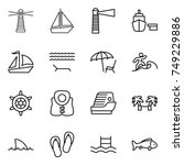thin line icon set   lighthouse ... | Shutterstock .eps vector #749229886