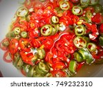 chopped fresh chillies in... | Shutterstock . vector #749232310