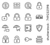 thin line icon set   dollar ... | Shutterstock .eps vector #749232598