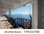 cruising on pacific ocean with... | Shutterstock . vector #749233780