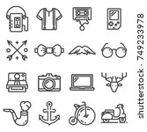 vector hipster icons set. liner ... | Shutterstock .eps vector #749233978