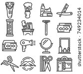 vector barber shop line icons... | Shutterstock .eps vector #749234014