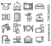 vector outline web icon set  ... | Shutterstock .eps vector #749234023