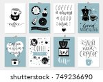 cute coffee theme premade... | Shutterstock .eps vector #749236690