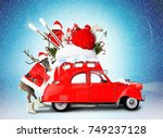 christmas car santa claus with... | Shutterstock . vector #749237128