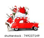 christmas car santa claus with... | Shutterstock . vector #749237149
