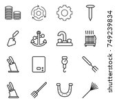 thin line icon set   coin stack ... | Shutterstock .eps vector #749239834