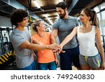 portrait of cheerful fitness... | Shutterstock . vector #749240830