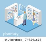 isometric interior of pharmacy. ... | Shutterstock .eps vector #749241619