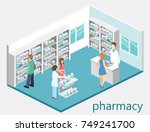 isometric interior of pharmacy. ... | Shutterstock .eps vector #749241700