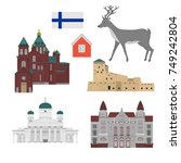 flat building of finland... | Shutterstock .eps vector #749242804