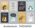 christmas animals card set ... | Shutterstock .eps vector #749243920