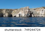 cliffs of the blue grotto ... | Shutterstock . vector #749244724
