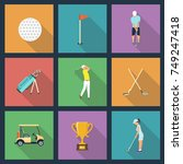 icons of young people playing...   Shutterstock .eps vector #749247418