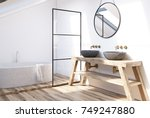 modern bathroom interior with a ... | Shutterstock . vector #749247880