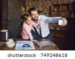 father and daughter taking... | Shutterstock . vector #749248618
