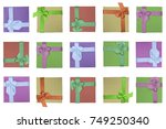 gift boxes. seamless pattern.... | Shutterstock . vector #749250340