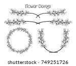 hand drawn flower arrangements. ... | Shutterstock .eps vector #749251726