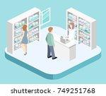 isometric interior of pharmacy. ... | Shutterstock .eps vector #749251768