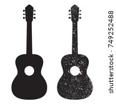 guitar icon  silhouette. grunge ... | Shutterstock .eps vector #749252488