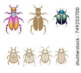 beetle vector illustration set. ... | Shutterstock .eps vector #749253700
