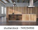 modern kitchen interior with... | Shutterstock . vector #749254900