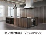 Stock photo modern kitchen interior corner with white brick walls a concrete floor large windows and dark 749254903