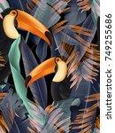 amazing tropical flowers patten.... | Shutterstock . vector #749255686