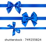 set of decorative blue bows... | Shutterstock .eps vector #749255824