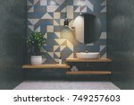 tiled bathroom interior with a... | Shutterstock . vector #749257603
