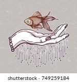 traditional tattoo flash hand... | Shutterstock .eps vector #749259184