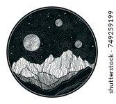 hand drawn extraterrestrial... | Shutterstock .eps vector #749259199